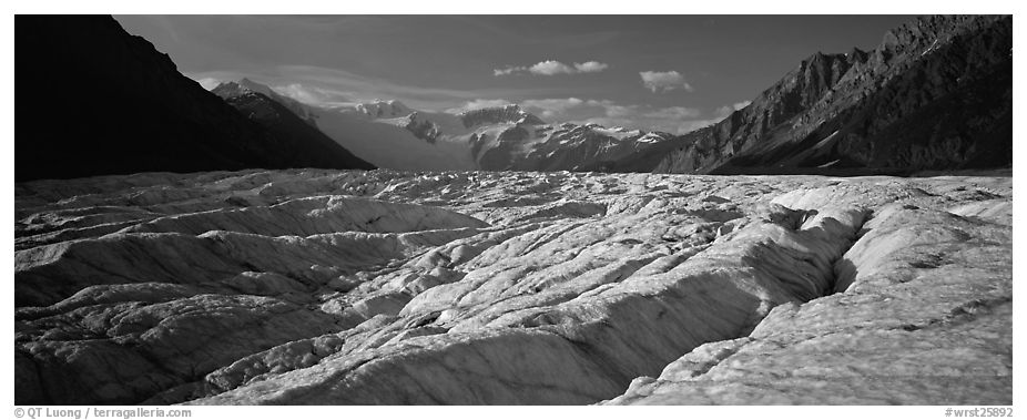 Glacier with crevasses. Wrangell-St Elias National Park (black and white)