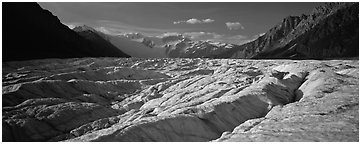 Glacier with crevasses. Wrangell-St Elias National Park (Panoramic black and white)
