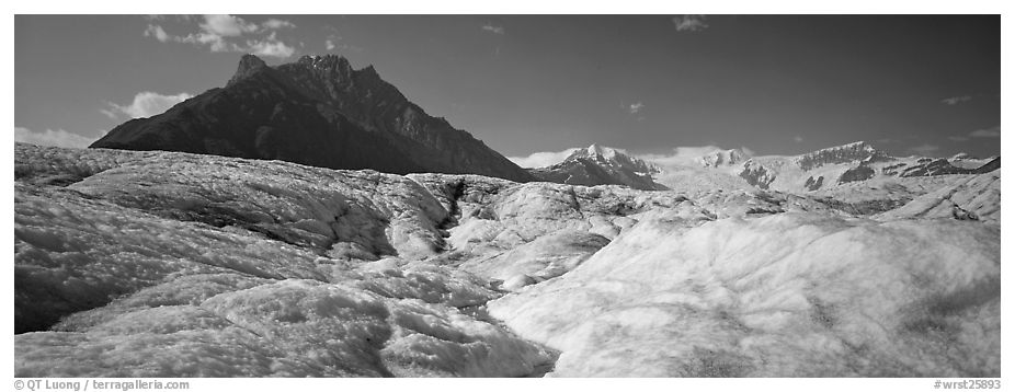 Glacier and peak. Wrangell-St Elias National Park (black and white)