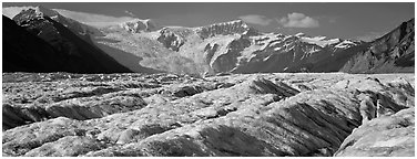Mountain glacier scenery. Wrangell-St Elias National Park (Panoramic black and white)