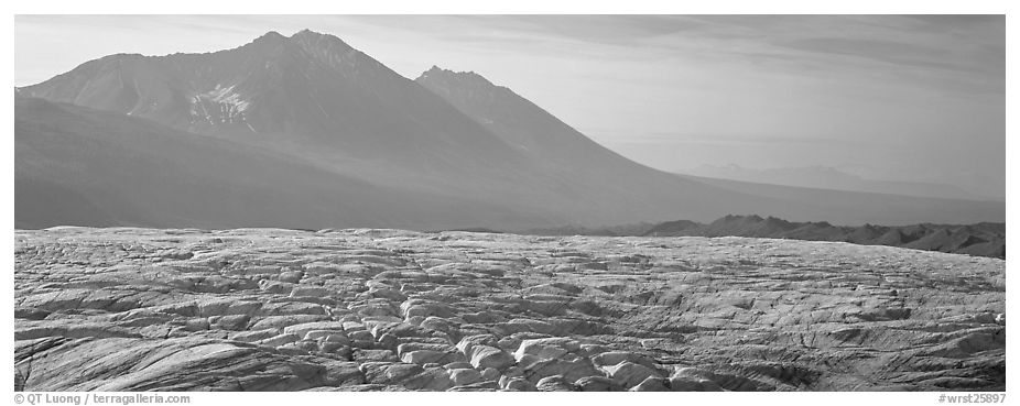 Crevassed glacier and mountains. Wrangell-St Elias National Park (black and white)