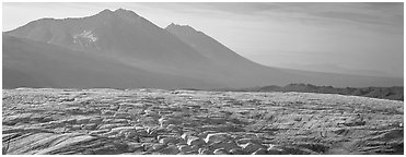 Crevassed glacier and mountains. Wrangell-St Elias National Park (Panoramic black and white)