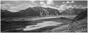 Glacial valley and lake. Wrangell-St Elias National Park (Panoramic black and white)