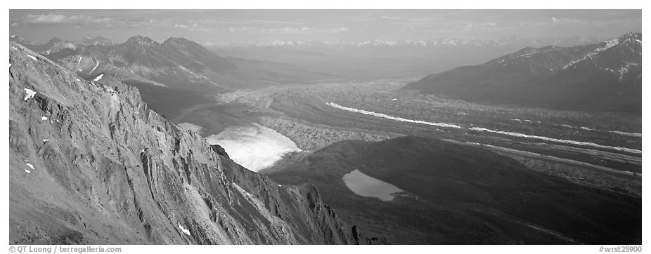 Glacier system from above. Wrangell-St Elias National Park (black and white)