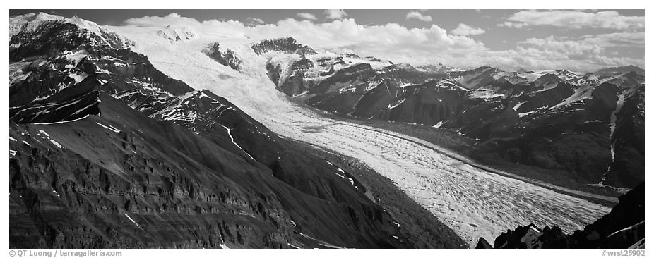 Elevated view of glacier descending from mountain. Wrangell-St Elias National Park (black and white)