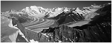 High mountain landscape with glaciers and snow-covered peaks. Wrangell-St Elias National Park (Panoramic black and white)
