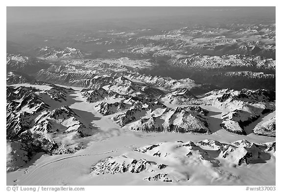 Aerial view of icefields and mountains, St Elias range. Wrangell-St Elias National Park (black and white)