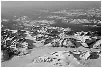 Aerial view of icefields and mountains, St Elias range. Wrangell-St Elias National Park, Alaska, USA. (black and white)