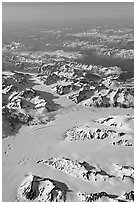 Aerial view of glaciers and mountains, St Elias range. Wrangell-St Elias National Park, Alaska, USA. (black and white)