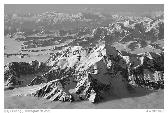 Aerial view of Mt St Elias and Mt Logan. Wrangell-St Elias National Park (black and white)