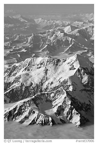 Aerial view of Mount St Elias and Mount Logan. Wrangell-St Elias National Park (black and white)