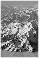 Aerial view of Mount St Elias and Mount Logan. Wrangell-St Elias National Park, Alaska, USA. (black and white)