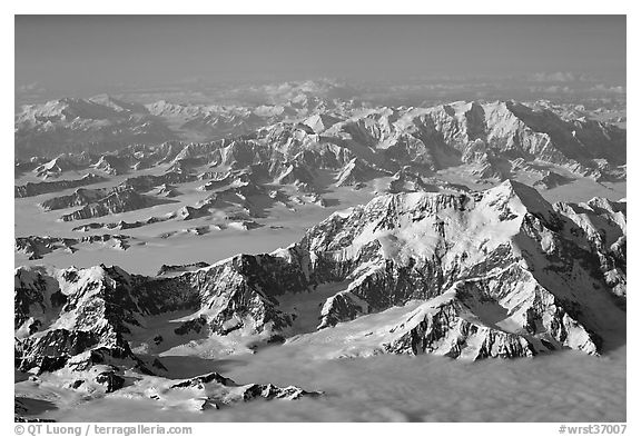 Aerial view of Mount St Elias with Mount Logan in background. Wrangell-St Elias National Park (black and white)