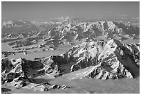 Aerial view of Mount St Elias with Mount Logan in background. Wrangell-St Elias National Park, Alaska, USA. (black and white)