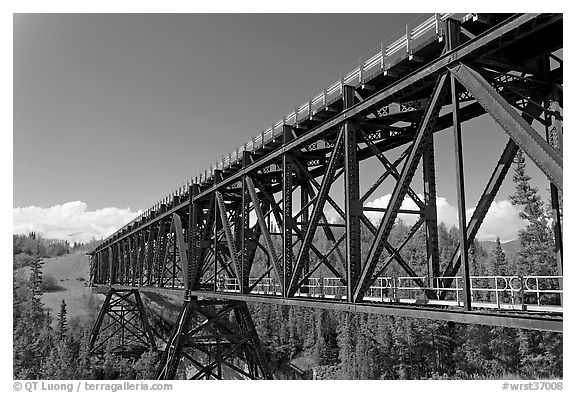 Bridge over Kuskulana river. Wrangell-St Elias National Park (black and white)