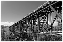Bridge over Kuskulana river. Wrangell-St Elias National Park, Alaska, USA. (black and white)