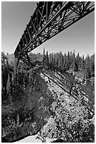 Bridge over Kuskulana canyon and river. Wrangell-St Elias National Park, Alaska, USA. (black and white)