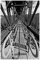 Foot catwalk below the Kuskulana river bridge. Wrangell-St Elias National Park, Alaska, USA. (black and white)