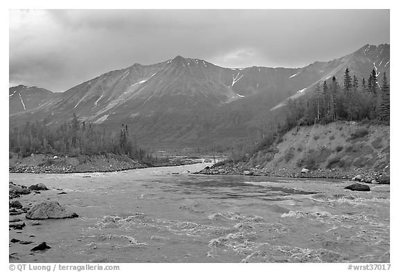 Kennicott River and Bonanza ridge at sunset. Wrangell-St Elias National Park (black and white)