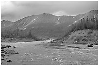 Kennicott River and Bonanza ridge at sunset. Wrangell-St Elias National Park, Alaska, USA. (black and white)