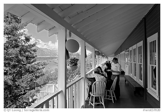 Porch of Kennicott Lodge. Wrangell-St Elias National Park (black and white)