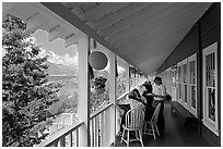 Porch of Kennicott Lodge. Wrangell-St Elias National Park, Alaska, USA. (black and white)