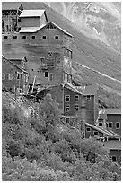 Kennecott mill. Wrangell-St Elias National Park, Alaska, USA. (black and white)