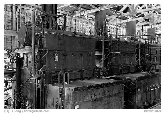 Burners inside the Kennecott power plant. Wrangell-St Elias National Park (black and white)