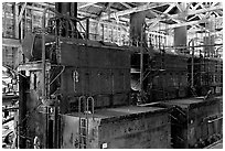 Burners inside the Kennecott power plant. Wrangell-St Elias National Park, Alaska, USA. (black and white)