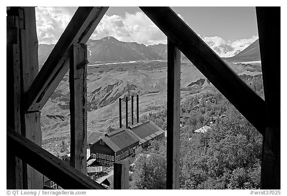 Kennecott power plant and Root Glacier seen from the Mill. Wrangell-St Elias National Park (black and white)