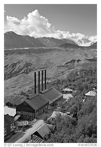Kennecott power plant, Root Glacier moraines, and Mt Blackburn. Wrangell-St Elias National Park (black and white)