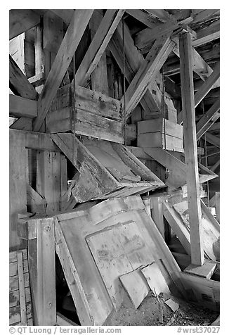 Inside the Kennecott copper concentration plant. Wrangell-St Elias National Park (black and white)