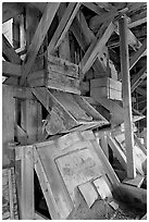 Inside the Kennecott copper concentration plant. Wrangell-St Elias National Park, Alaska, USA. (black and white)