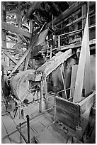 Grinder inside the Kennecott mill plant. Wrangell-St Elias National Park, Alaska, USA. (black and white)