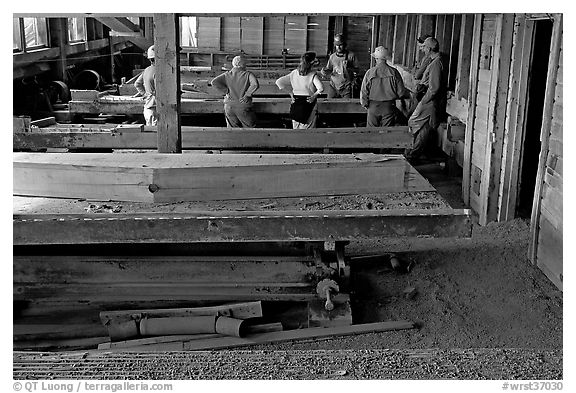 Tour group visiting the Kennecott mill plant. Wrangell-St Elias National Park (black and white)