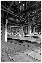 Shaking tables in the Kennecott concentration plant. Wrangell-St Elias National Park, Alaska, USA. (black and white)