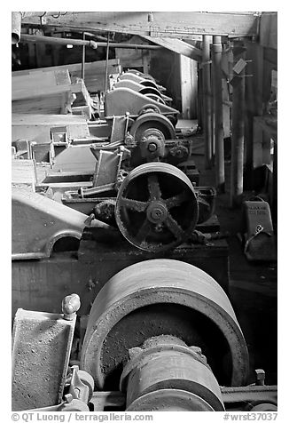 Machinery in the Kennecott concentration plant. Wrangell-St Elias National Park (black and white)