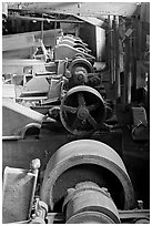 Machinery in the Kennecott concentration plant. Wrangell-St Elias National Park ( black and white)