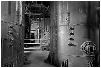 Ammonium leeching facility, Kennecott concentration plant. Wrangell-St Elias National Park, Alaska, USA. (black and white)