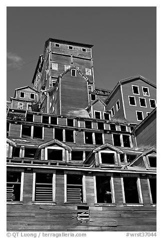 Historic Kennecott copper mill. Wrangell-St Elias National Park (black and white)