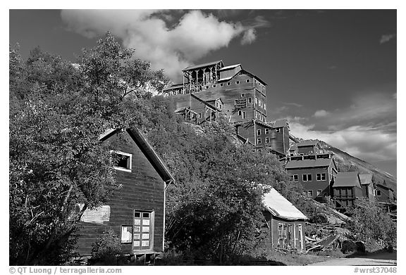 Kennecott mill town. Wrangell-St Elias National Park (black and white)