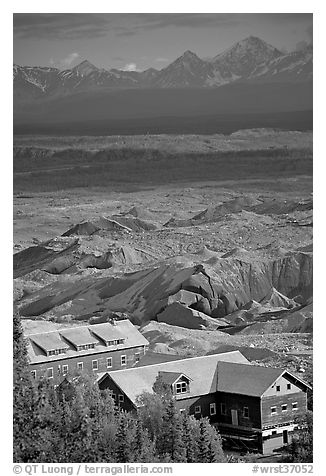 Kennecott mill town buildings and moraines of Root Glacier. Wrangell-St Elias National Park (black and white)