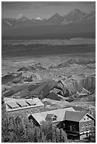 Kennecott mill town buildings and moraines of Root Glacier. Wrangell-St Elias National Park ( black and white)