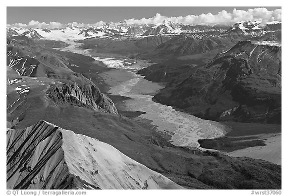 Aerial view of Nizina River. Wrangell-St Elias National Park (black and white)