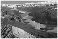 Aerial view of Nizina River. Wrangell-St Elias National Park, Alaska, USA. (black and white)