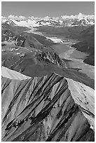 Aerial view of Nizina River and Glacier. Wrangell-St Elias National Park, Alaska, USA. (black and white)