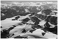 Aerial view of Saint Elias Mountains. Wrangell-St Elias National Park, Alaska, USA. (black and white)
