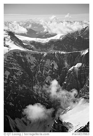 Aerial view of steep rock mountain faces. Wrangell-St Elias National Park (black and white)
