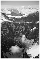 Aerial view of steep rock mountain faces. Wrangell-St Elias National Park, Alaska, USA. (black and white)