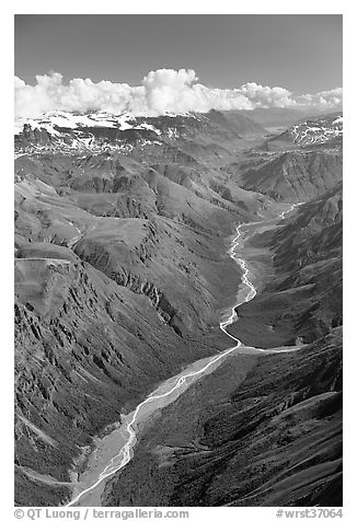 Aerial view of verdant river valley. Wrangell-St Elias National Park (black and white)
